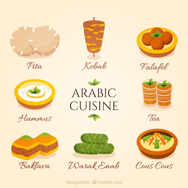 手描きアラビア料理集 Premiumベクター