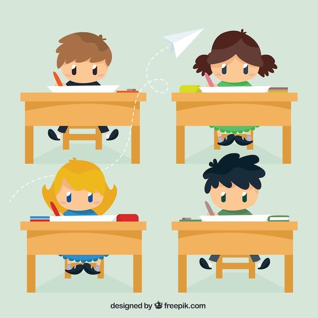 教室での素敵な子供たち 無料ベクター