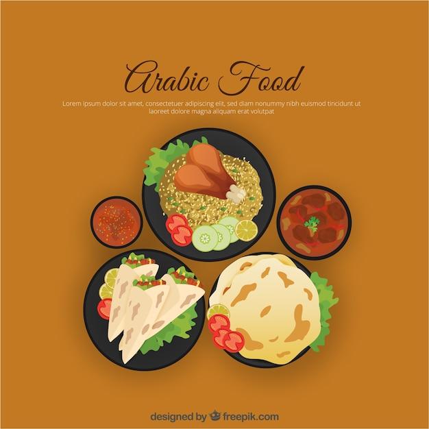 トップビューでアラビア語食品 無料ベクター