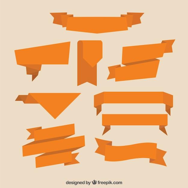 フラットオレンジリボンのコレクション 無料ベクター