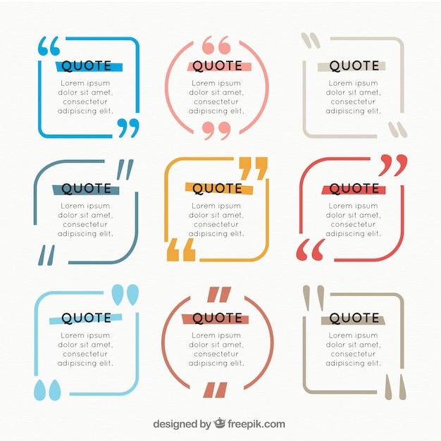 Цветные коллекции кадра цитатой Бесплатные векторы