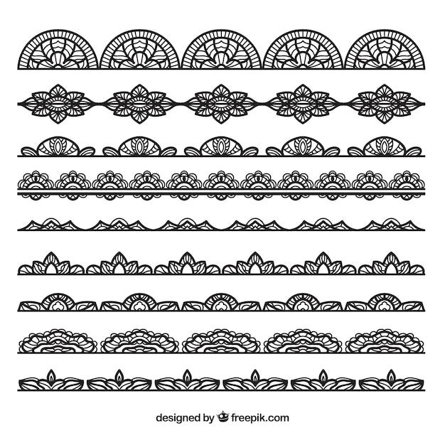 Коллекция из черного кружева границы Бесплатные векторы