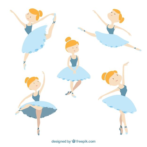 異なる姿勢での素敵なバレエダンサー 無料ベクター