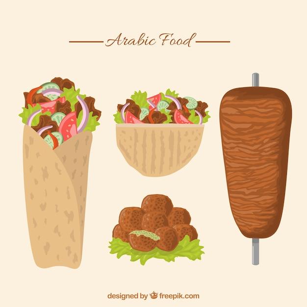 手描きの伝統的なアラビア食品パック 無料ベクター