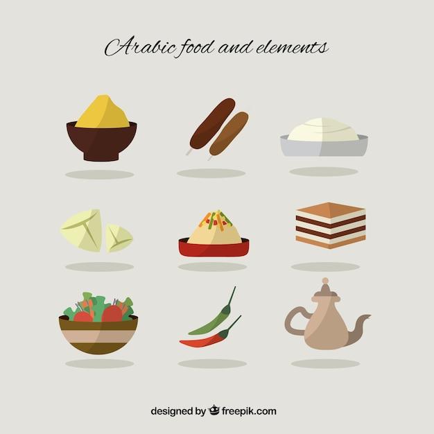 フラットアラビア食品や要素 無料ベクター
