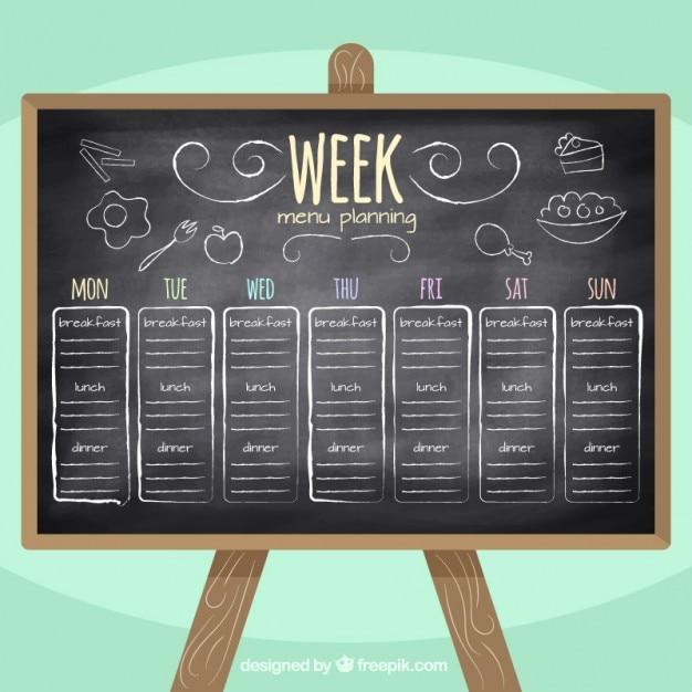 Планирование меню неделя в доске Premium векторы