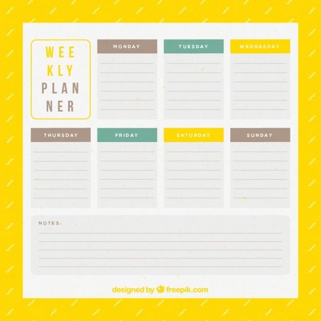 Еженедельный планировщик в желтый цвет Бесплатные векторы