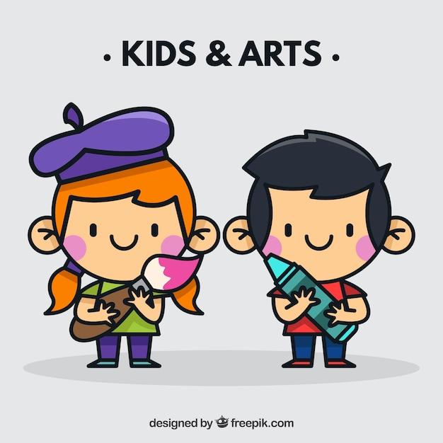 芸術家気取りのツールと子供 無料ベクター