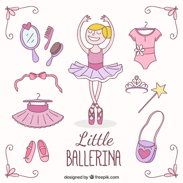 Маленькая балерина одежды пакет Бесплатные векторы