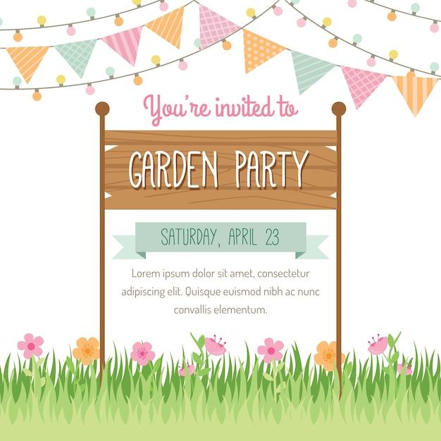 ガーデンパーティーの招待状のデザイン 無料ベクター