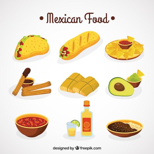 メキシコ料理のコレクション 無料ベクター