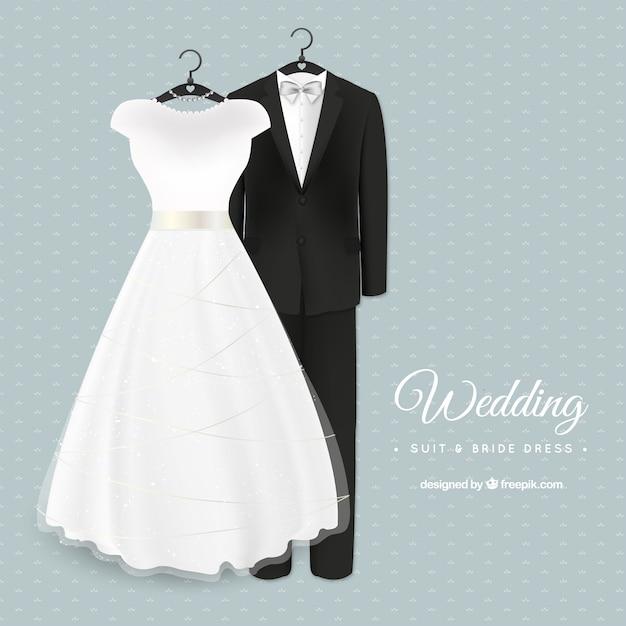 グラマラス結婚式のスーツと花嫁のドレス 無料ベクター