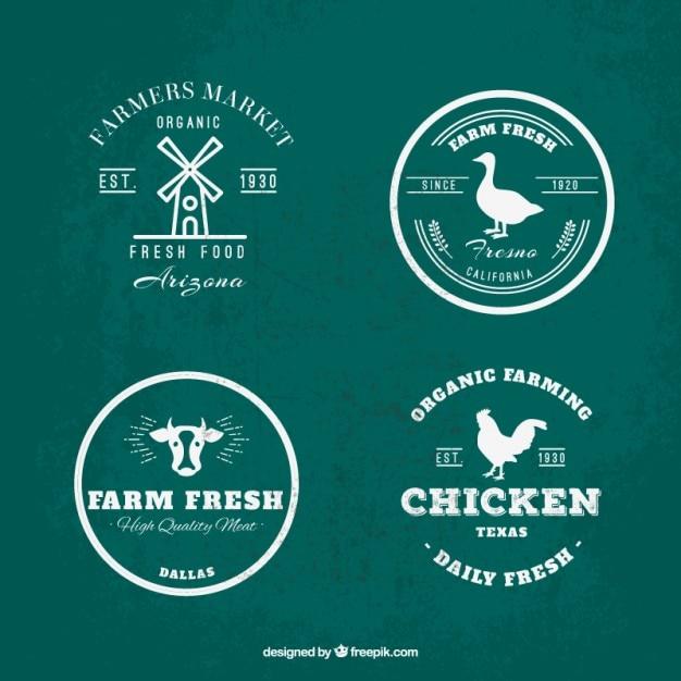 Логотип коллекции зеленый и белый фермы Бесплатные векторы