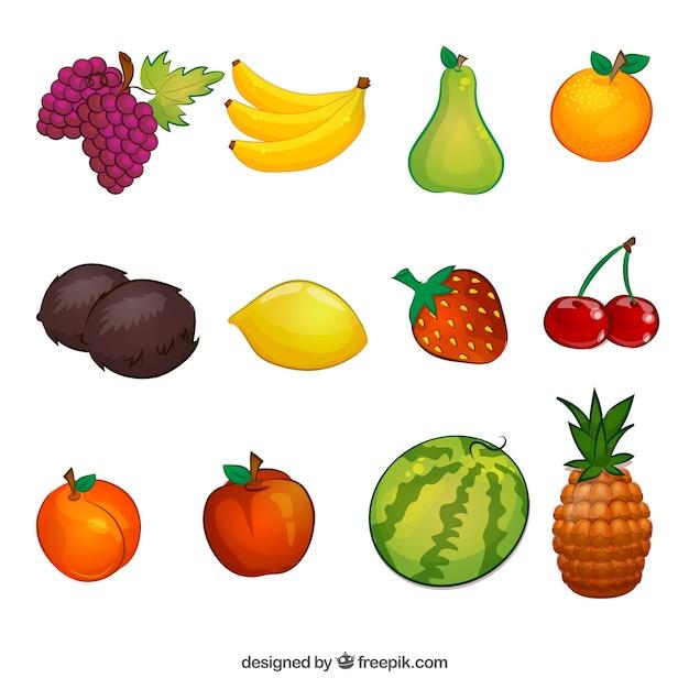Коллекция иллюстраций фруктовые Бесплатные векторы