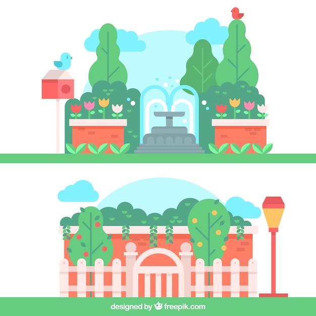 朗らか庭の風景 無料ベクター