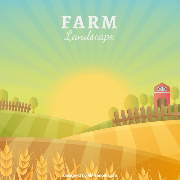 のどかな農場の風景 無料ベクター