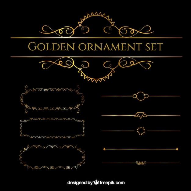 Золотой набор орнамент Бесплатные векторы