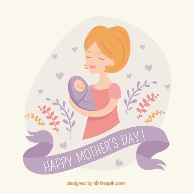 Мать с ребенком фоне Бесплатные векторы