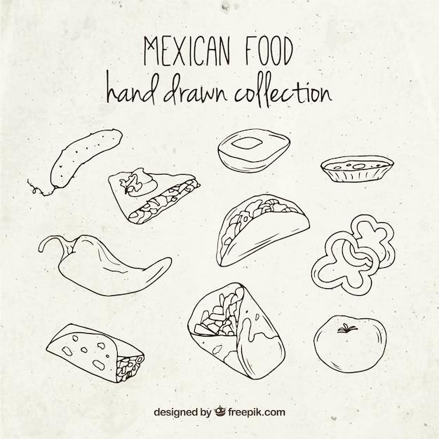おいしいメキシコ料理をスケッチ 無料ベクター