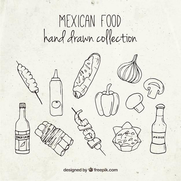 手描きメキシコ食材 無料ベクター