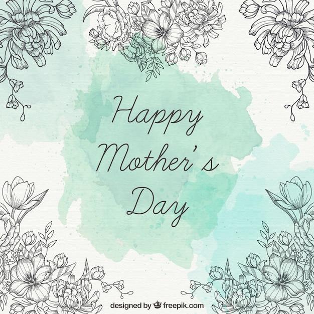 День карты матери с рисованной цветы деталей Бесплатные векторы