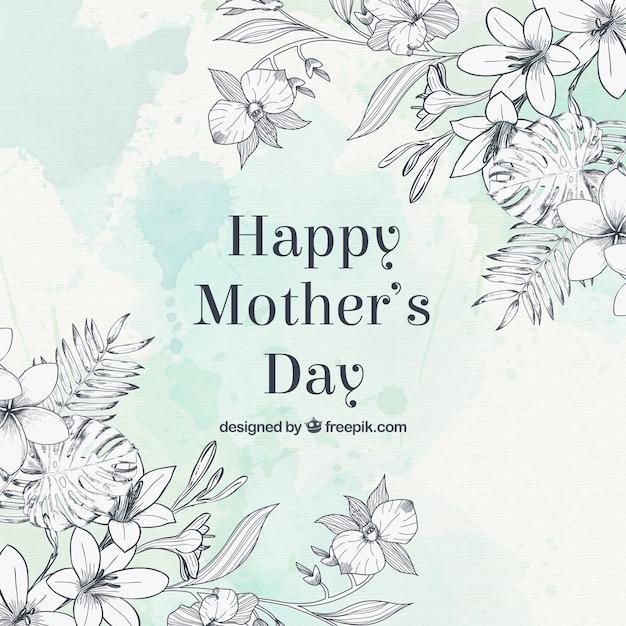 Наброски цветы день матери приветствие Бесплатные векторы