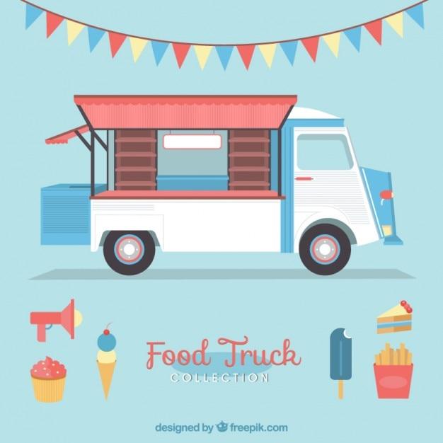 アイスクリームや花輪かわいいヴィンテージ食品トラック 無料ベクター