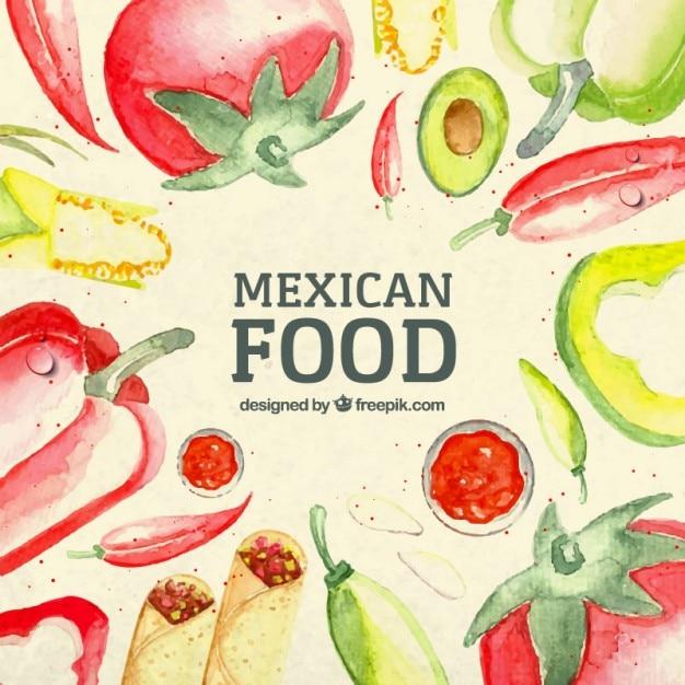 Акварельный фон мексиканская еда Бесплатные векторы