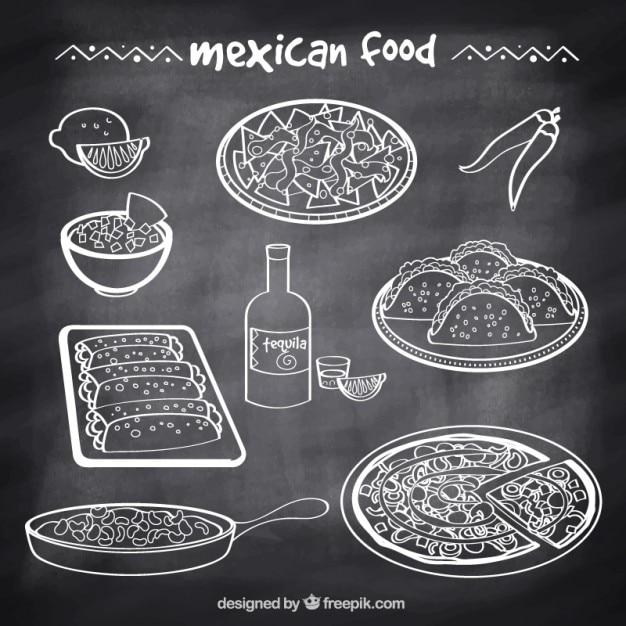 黒板スタイルで典型的なメキシコ料理をスケッチ 無料ベクター