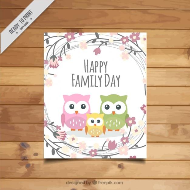 かわいいフクロウの家族の日カード 無料ベクター