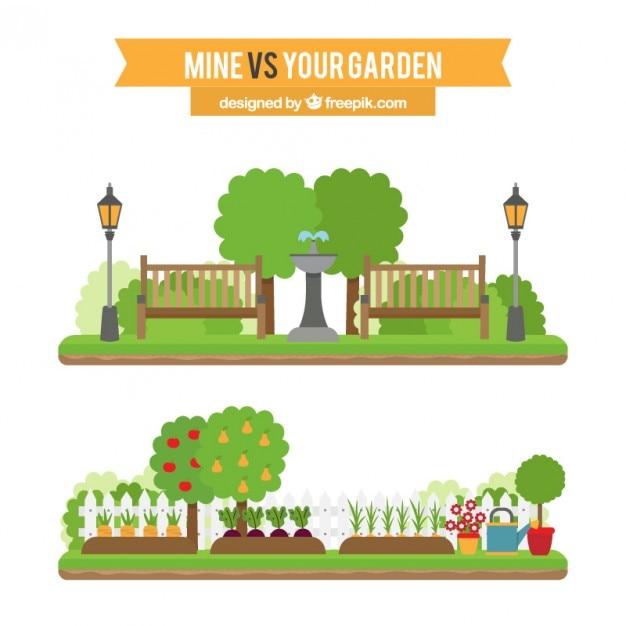 Плоские садовые ландшафты установлены Бесплатные векторы