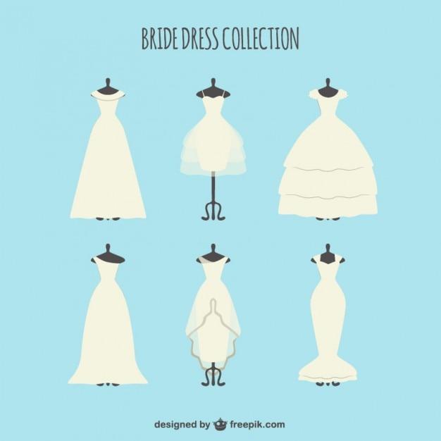 エレガントな花嫁のドレスのコレクション 無料ベクター