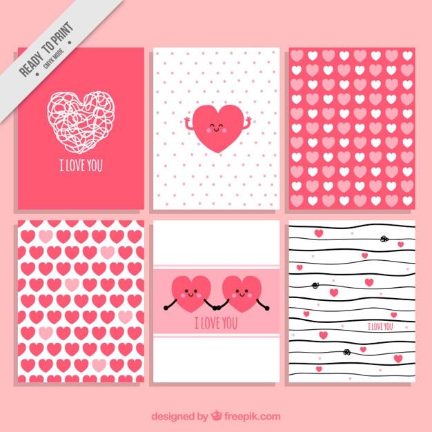 特別な日のための愛カードコレクション 無料ベクター