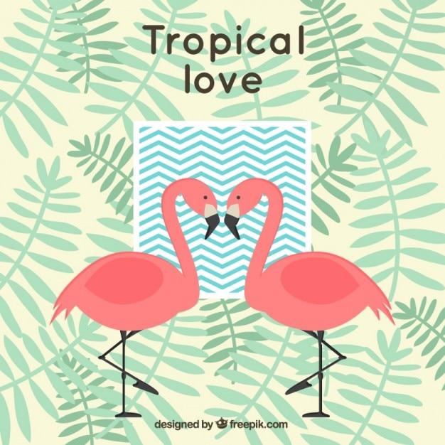 フラミンゴやヤシの葉で熱帯背景 無料ベクター
