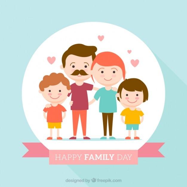 幸せな家族の日フラットなデザインの背景 無料ベクター