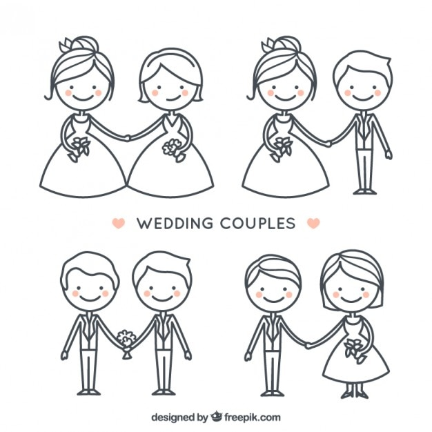 手描きのかわいい結婚式のカップルのコレクション 無料ベクター
