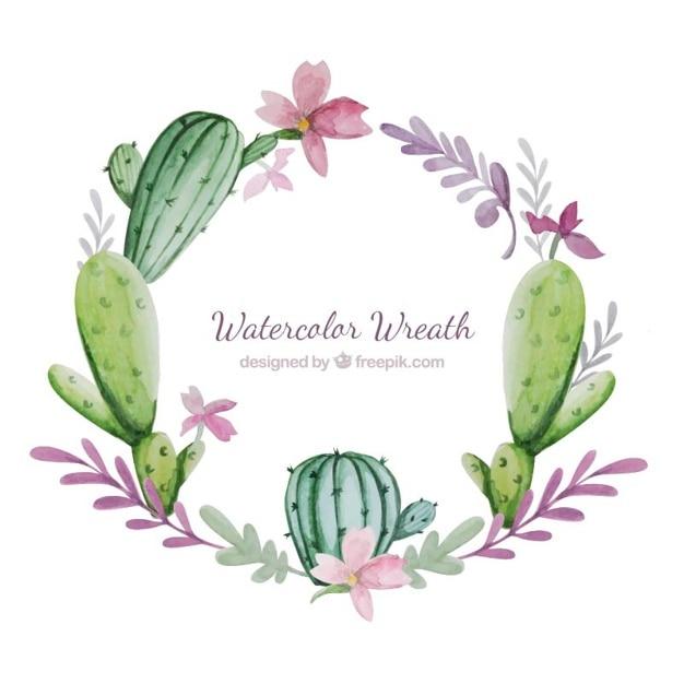花とサボテンと水彩花輪 無料ベクター