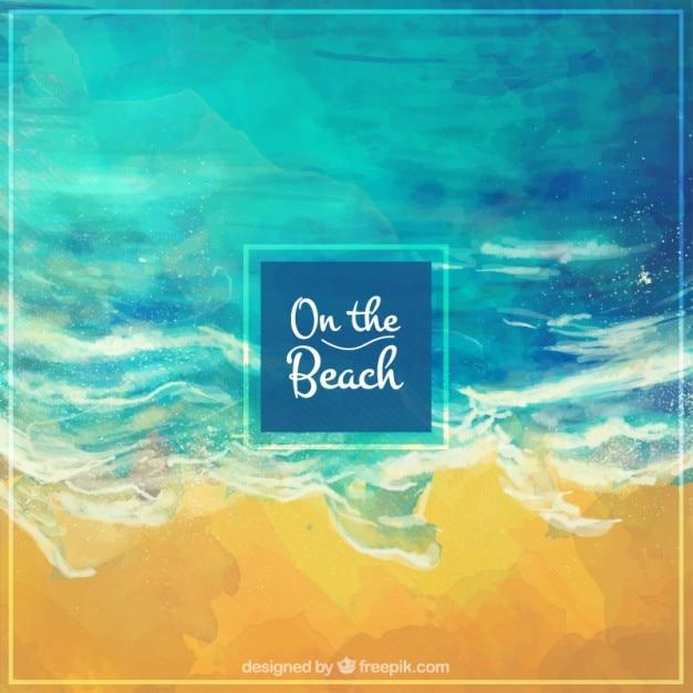 水彩海岸の背景 無料ベクター