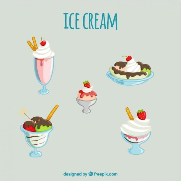おいしいアイスクリームのデザートのバラエティセット 無料ベクター