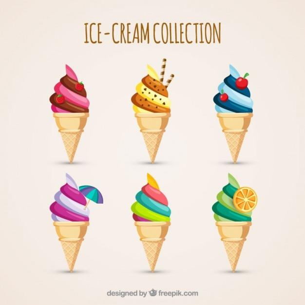 Вкусное мороженое с вафельного конуса Бесплатные векторы