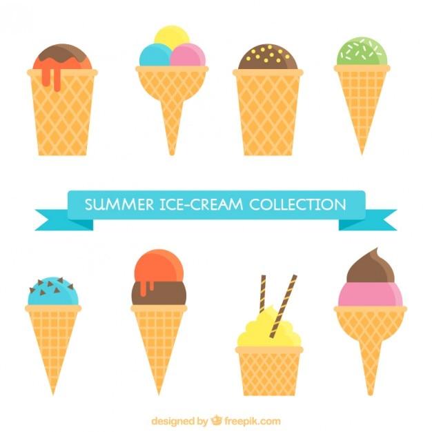 フラットなデザインで美味しいウエハがセットされたアイスクリーム 無料ベクター