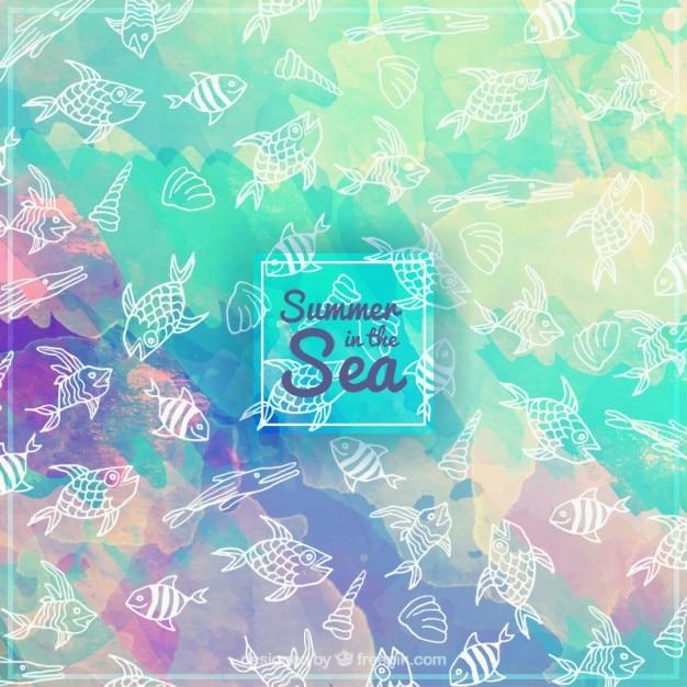 Акварельный фон с рисованной рыб Бесплатные векторы