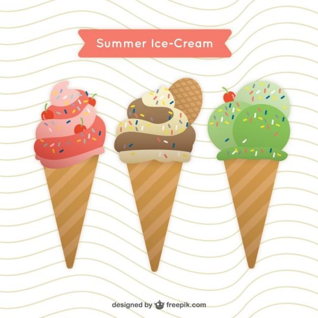 ウェハとおいしいと色のアイスクリーム 無料ベクター