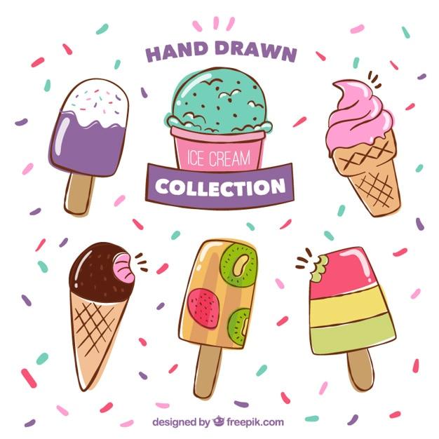 Ручной обращается хорошие цветные мороженое Бесплатные векторы