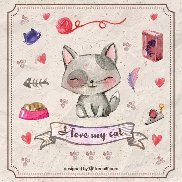手描きペットのアクセサリーやかわいい子猫 無料ベクター