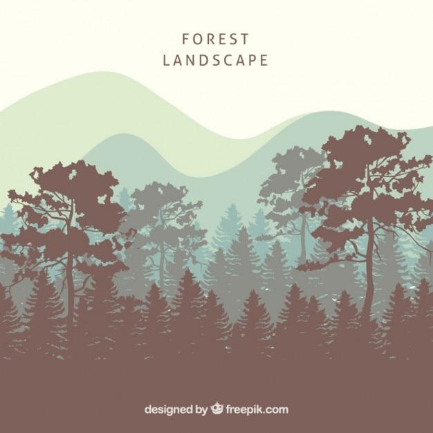木のシルエットと森林景観の背景 無料ベクター