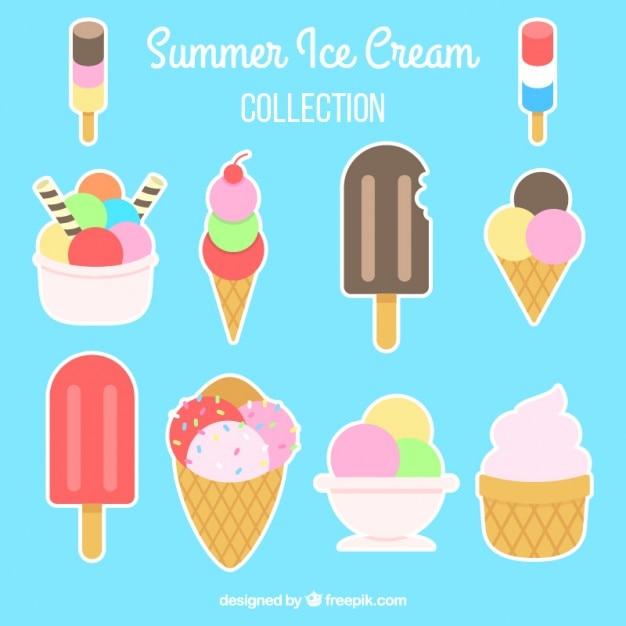 Коллекция цветной этикетке мороженого Бесплатные векторы