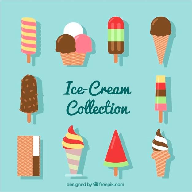 Коллекция освежающего мороженого в плоском исполнении Бесплатные векторы