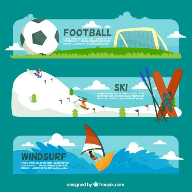 Спортивные баннеры набор Бесплатные векторы