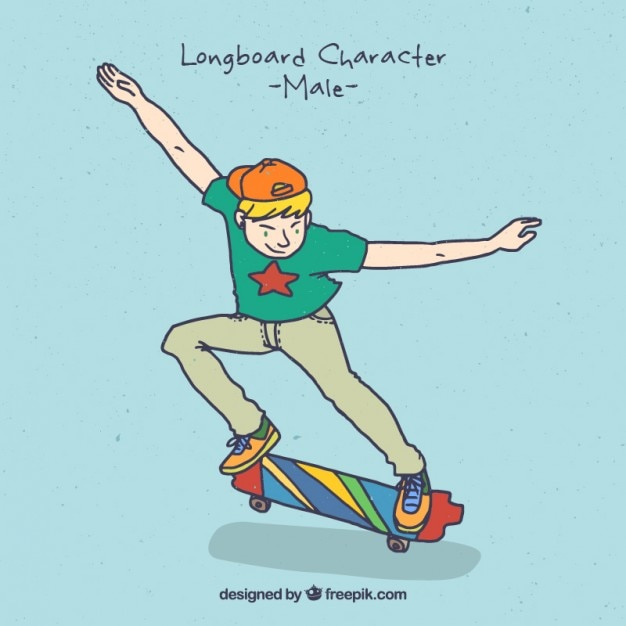彼のスケートボードでクールな少年 無料ベクター